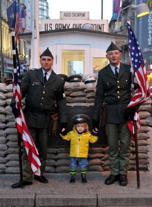 Meeting new people at Checkpoint Charlie.