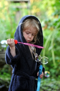 Bubbles are apparently even better while wearing a dressing gown.