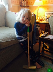 A boy and his broom.